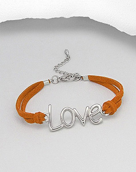"Bracelet ""love"" en métal argenté cordon daim orange-4530"